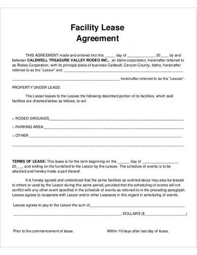 facility lease agreement template