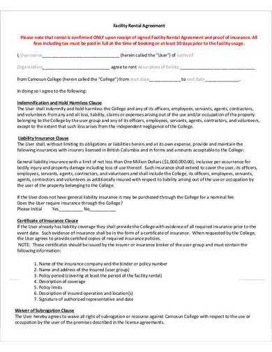 facility rental agreement sample