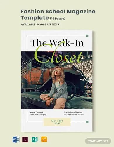 fashion school magazine template