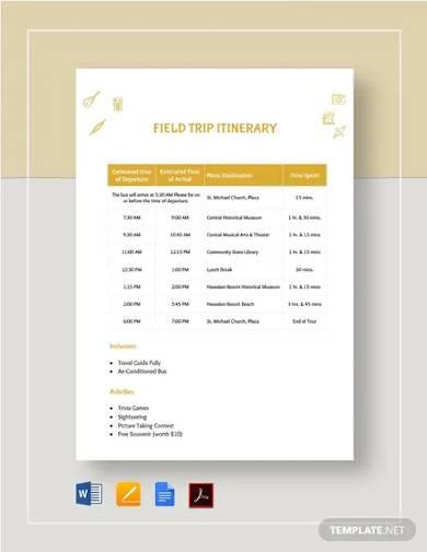 field trip itinerary template