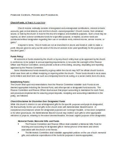 financial controls policies and procedures