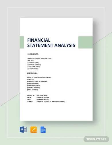 financial statement analysis template