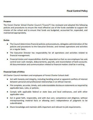 fiscal control policy template