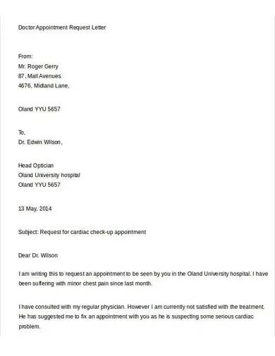 formal doctor appointment request letter