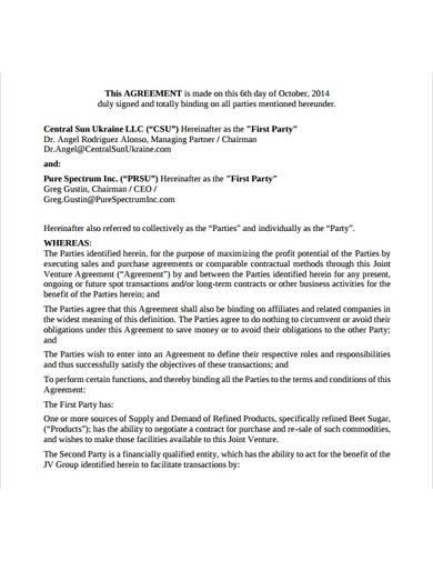 formal profit sharing agreement