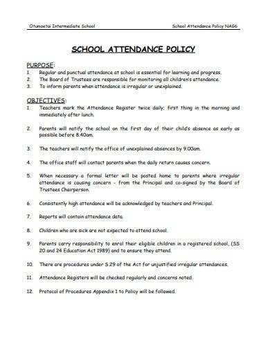formal school attendance policy