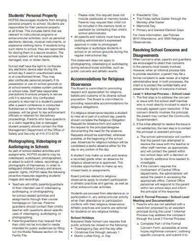 formal student and parent handbook