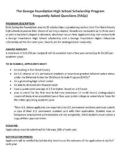foundation high school scholarship program