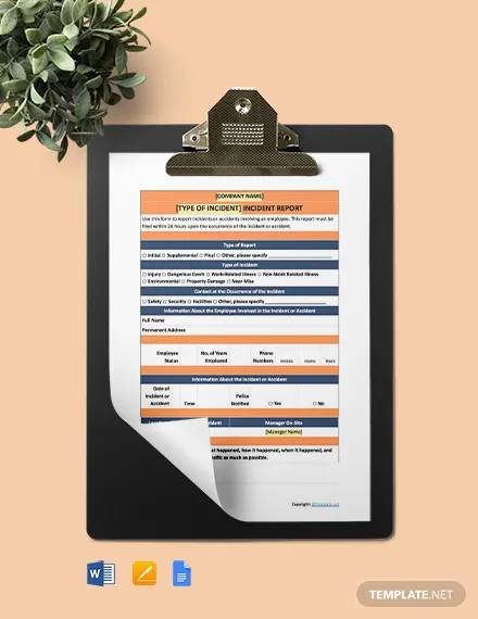 free basic incident report template