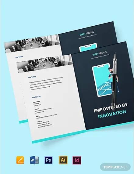 free bi fold simple it brochure template