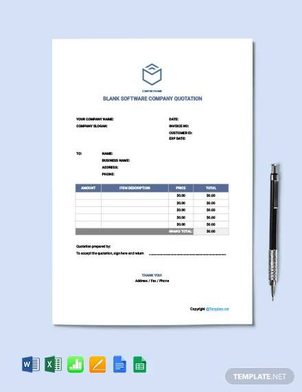 free blank software company quotation template1