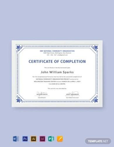 free certificate of project completion template