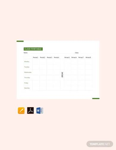 free class timetable template