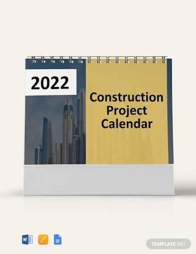 free construction project desk calendar template