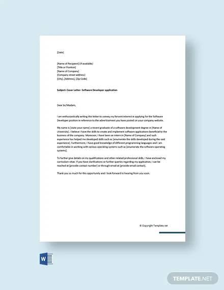 free cover letter for software developer for fresher