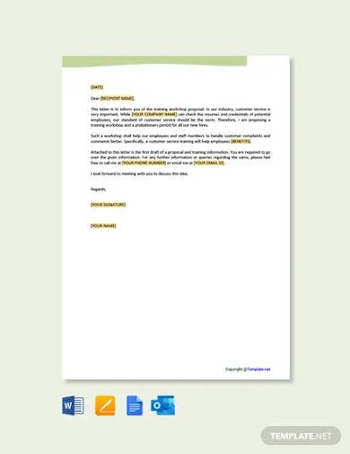 free customer service training proposal letter