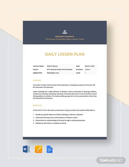 free daily lesson plan template