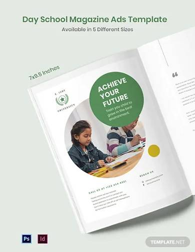free day school magazine ads template