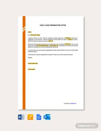 free early lease termination letter template