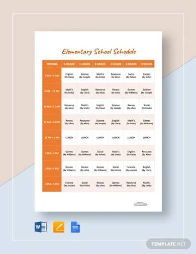 free elementary school schedule template