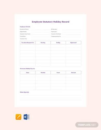 free employee statutory holiday record template