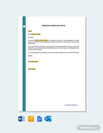 free employee thank you letter template