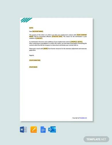 free employment contract termination letter