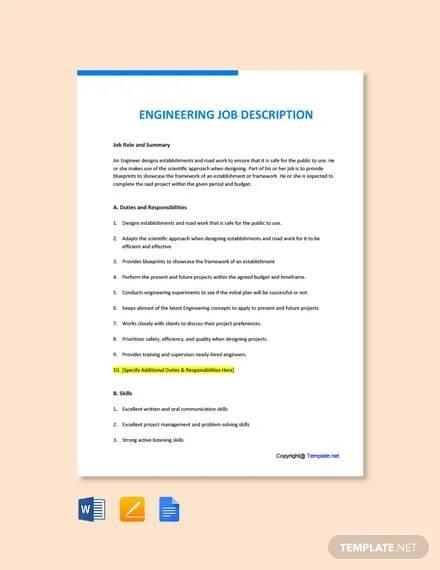 free engineering job description template