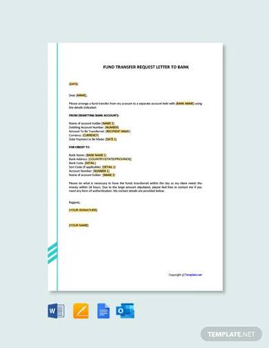 free fund transfer request letter to bank