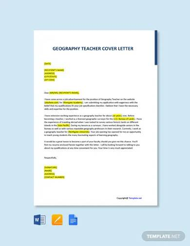 free geography teacher cover letter template
