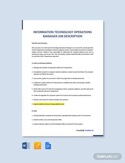 free information technology operations manager job description template