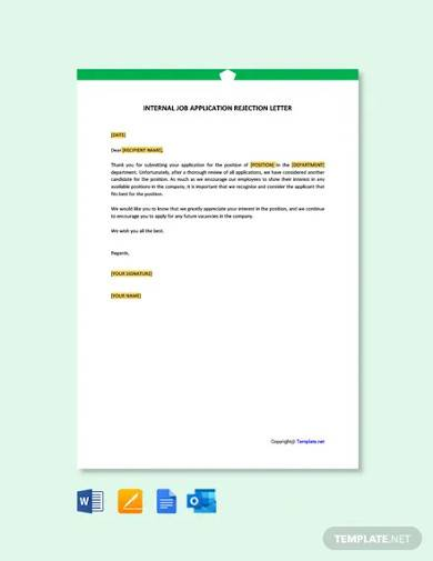 free internal job applicant rejection letter