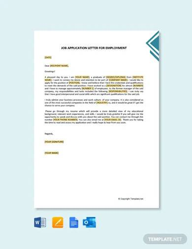 free job application letter for employment