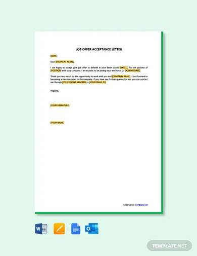 free job offer acceptance letter template