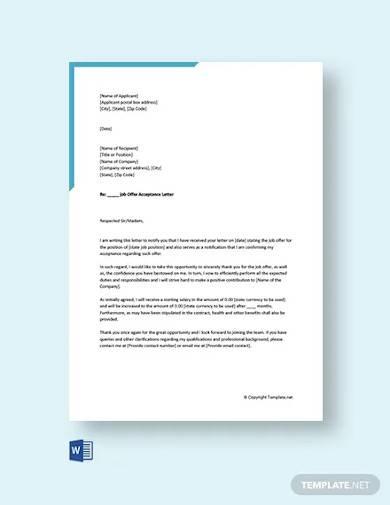 free job offer acceptance letter