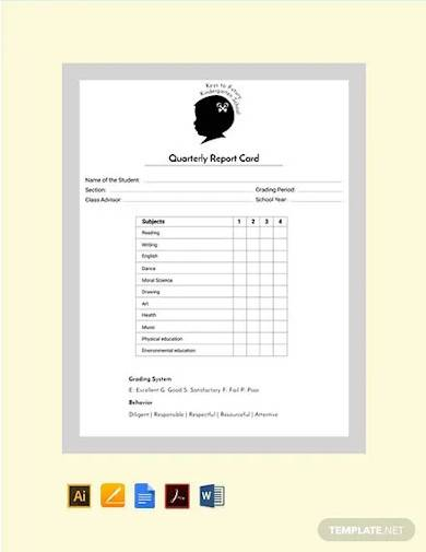 free kindergarten quarterly report card template