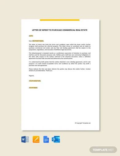 free letter of intent to purchase commercial real estate