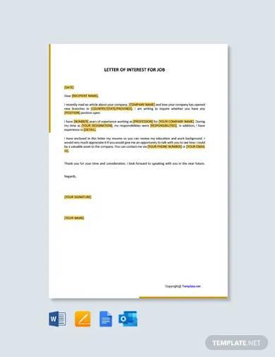 free letter of interest for job
