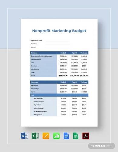 free non profit marketing budget template