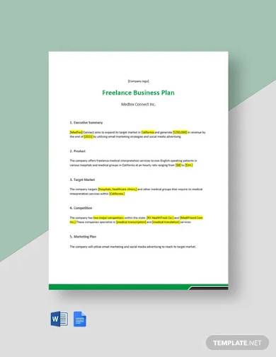 free one page freelance business plan template