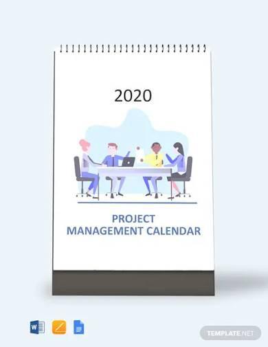 free project management desk calendar template