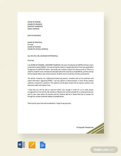 free request letter to principal for permission