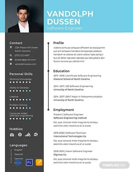 free resume for experienced software engineer template