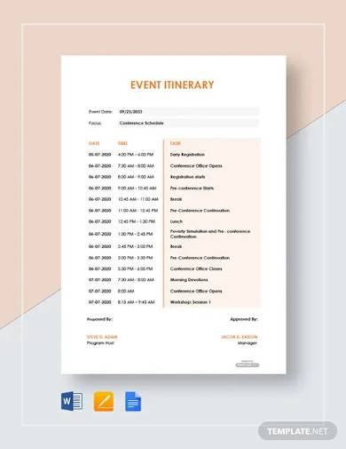 free sample event itinerary template