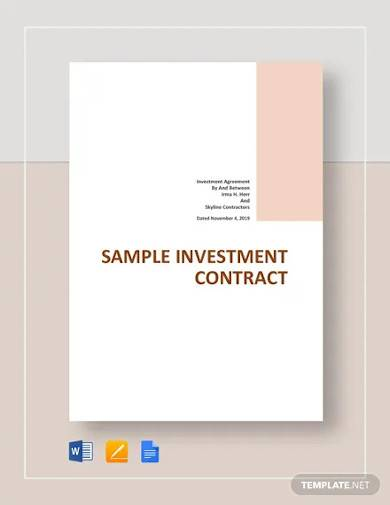 free sample investment contract template