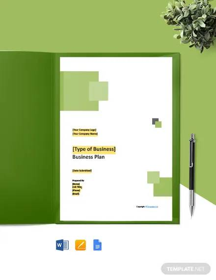 free sample software business plan template