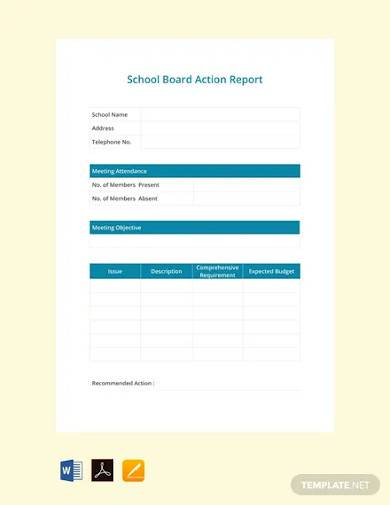 free school board report template