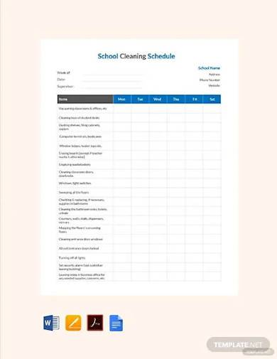 free school cleaning schedule template