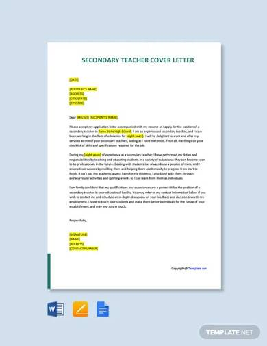 free secondary teacher cover letter template