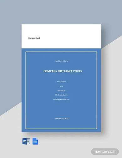 free simple company freelance policy template